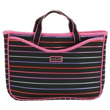 Small Neoprene Laptop Sleeve in Pencil Stripes Berry