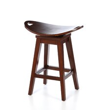 "Thoroughbred 26.75"" Backless Swivel Counter Stool in Cherry"