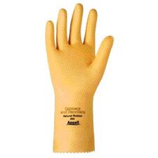 "7 Canners And Handlers™ Medium Duty Natural Unsupported 20 Mil Natural Latex Unlined 12"" Glove With Fishscale Grip And Pinked Cuff"