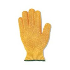 10 Gold MultiKnit™ Medium Weight Polyester/Cotton String Gloves With Knit Wrist And Kriss-Cross® Pattern Coating