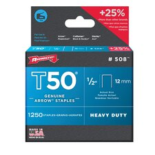T50 Type Staples - (pack/1250) 1/2 in 12mmt-50 gun
