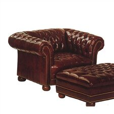 Tufted Chesterfield Leather Chair and Ottoman