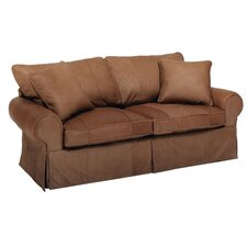 Skirted Leather Sleeper Sofa