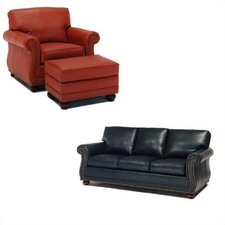 Manchester Leather Sleeper Sofa and Chair Set