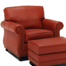 Manchester Leather Chair and Ottoman