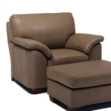 Regis Leather Chair and Ottoman