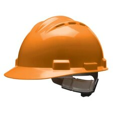Series Hi-Viz Orange Vented Safety Cap With 4 Point Ratchet Headgear And Cotton Browpad