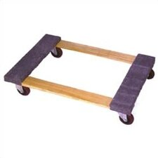 "<strong>Wesco Manufacturing</strong> Open Deck Wood Dolly with 4"" Casters and Carpet Ends"