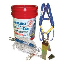 Compliance-In-A-Can™ (3 Point Harness, 50' Rope Lifeline, Snap Hook, Rope Adjuster, Shock Absorbing Lanyard & Wire Rope Sling)