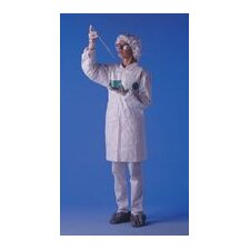 White Serged Seams Front Snap Closure Lab Coat With Two Pockets Elastic Wrist And Collar Size Large