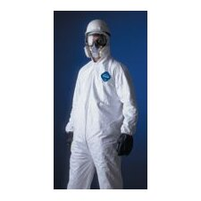 White Tyvek® Coverall With Serged Seams, Zipper Front, Elastic Wrists And Ankles, And Attached Elastic Hood
