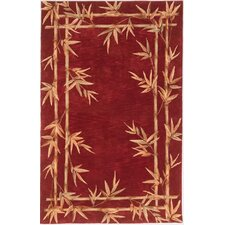 Sparta Red Bamboo Border Area Rug