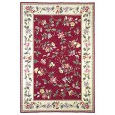 Colonial Crimson/Ivory Floral Vine Rug