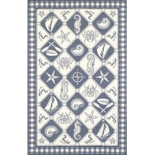 Colonial Blue/Ivory Nautical Novelty Rug