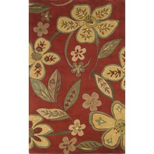 Emerald Red/Yellow Floral Area Rug