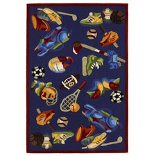 Kolorful Kidz Sports Fun Royal Blue Kids Rug