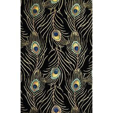 Catalina Black Peacock Feathers Novelty Area Rug