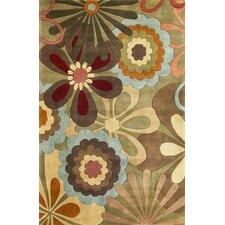 Ruby Sage Retro Flora Area Rug