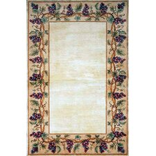 Emerald Ivory Grapes Border Area Rug