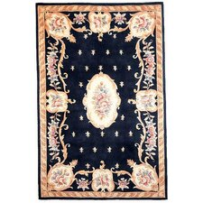 Ruby Black FleurdeLis Aubusson Area Rug