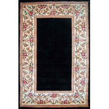 Ruby Black Floral Border Rug