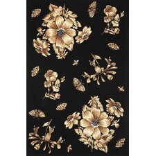Ruby Elegance Black Area Rug