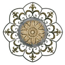Medallion Wall Art in Antiqued Ivory