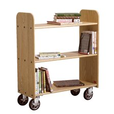 <strong>Diversified Woodcrafts</strong> Solid Oak Book Truck With 3 Flat Shelves