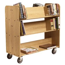 "<strong>Diversified Woodcrafts</strong> 11"" Solid Oak Book Truck With 4 Sloped & 1 Flat Shelf"
