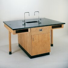 <strong>Diversified Woodcrafts</strong> 4 Student Double Faced Workstation With Cupboard