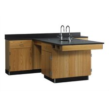 <strong>Diversified Woodcrafts</strong> Perimeter Workstation With Door, Drawer, Sink & Fixtures