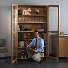<strong>Diversified Woodcrafts</strong> Hinged Storage Case With Oak Framed Glass Doors