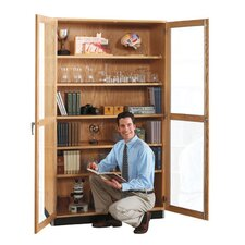 "Hinged 36"" Storage Case with Oak Framed Glass Doors"
