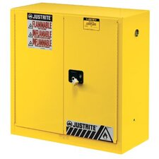 Yellow Safety Cabinets for Flammables - 30 gal cab man w/pdle hndl