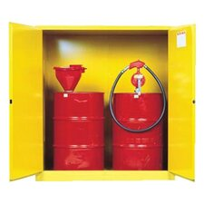 Yellow Vertical Drum Safety Cabinets - 110g cab yl mr flam vdrmex