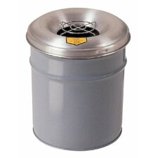 Cease-Fire® Smoking Receptacles - 6 gallon gray cease-fireash & butt receptacle