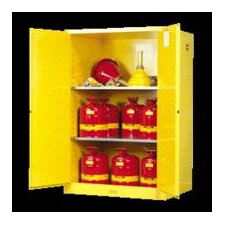 "X 43"" X 34"" Yellow 90 Gallon Sure-Grip® EX Safety Cabinet For Flammables With 2 Self-Closing Doors And 2 Shelves"