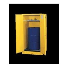 "X 34"" X 34"" Yellow 55 Gallon Sure-Grip® EX Safety Cabinet For 1 Vertical Drum With 2 Self-Closing Doors, 1 Shelf, And Removable Drum Rollers In Base"