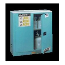 "X 35"" X 22"" Blue 22 Gallon Steel Undercounter Sure-Grip® EX Safety Cabinet For Corrosives With 2 Manual Doors And 1 Shelf"