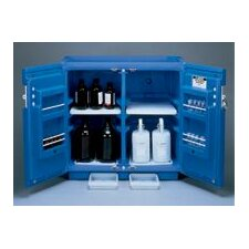 "1/2"" X 14 1/4"" X 16 1/4"" Blue Polyethylene Countertop Storage Cabinet For Acids With 1 Door (Capacity 2 Each 4 Liter Bottles)"