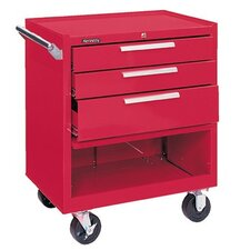 Industrial Series Roller Cabinets - 10298 roller cabinet 3-drawer w/compartment red