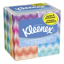 Professional Kleenex Facial Pocket 3-Ply Tissue - 10 Sheets per Pack / 8 Packs
