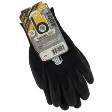 Large Black Double Lined Thermal Knit Gloves C4001BKL