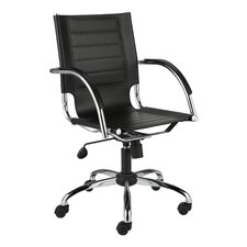 Dave Mid-Back Leather Office Chair with Arms