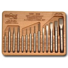 150Th Ann. 14Pc Punch & Chisel Set W/Harwood Tray