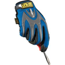 Blue M-Pact® Mechanics Gloves With Synthetic Leather Palm And Spandex Top