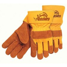 "Premium Side Split Cow Gloves - bronco side leather palmgloves 2-1/2"" safe"