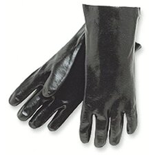 "Economy Dipped PVC Gloves - 12"" gauntlet interlock lined rough finis"