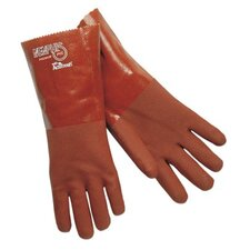 "<strong>Memphis Glove</strong> Premium Double-Dipped PVC Gloves - 14"" gauntlet premium double dipped red pvc jer"