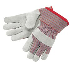 "Industrial Standard Shoulder Split Gloves - economy shldr leather palm 2.5"" rubberized cuff"
